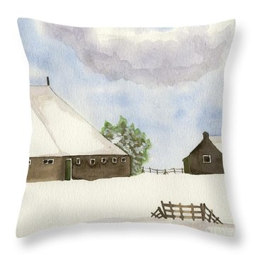 Throw Pillow featuring the painting Farmhouse In The Snow by Annemeet Hasidi- van der Leij