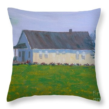 Throw Pillow featuring the painting Farmhouse In Winlock Washington by Suzanne McKay