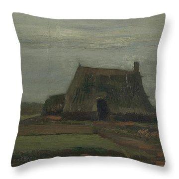 Farmhouse With Peat Stacks, 1883 Throw Pillow