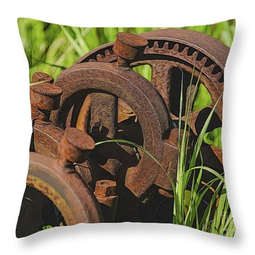 Farming Rusty Gold Throw Pillow