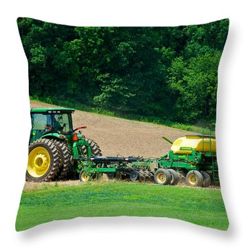 Farming The Field Throw Pillow