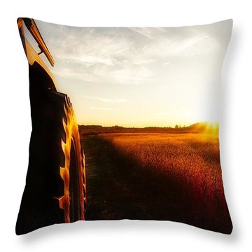 Farming Until Sunset Throw Pillow