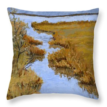 Farmington Bay Marsh Throw Pillow