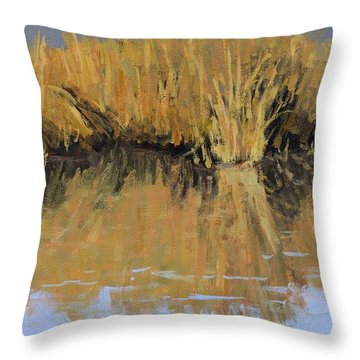 Farmington Bay Reeds Throw Pillow