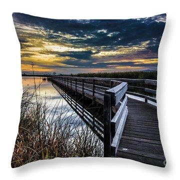 Farmington Bay Sunset - Great Salt Lake Throw Pillow