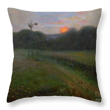 Throw Pillow featuring the painting Farmland Peace by Nancy Lee Moran