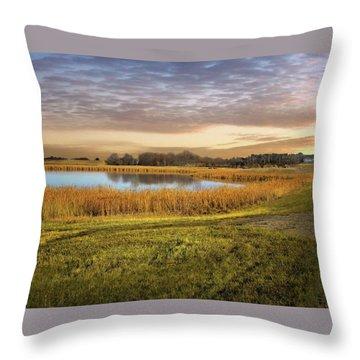 Farmland Pond Throw Pillow