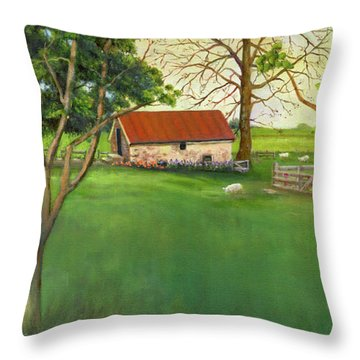 Throw Pillow featuring the painting Farmland Scene by Marlene Book