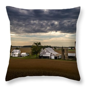 Farmstead Under Clouds Throw Pillow