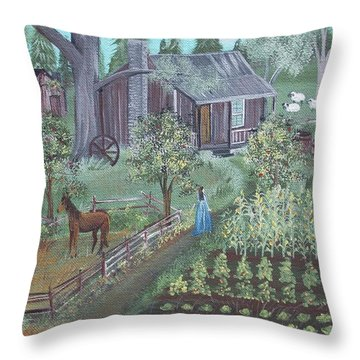 Throw Pillow featuring the painting Farmstead by Virginia Coyle