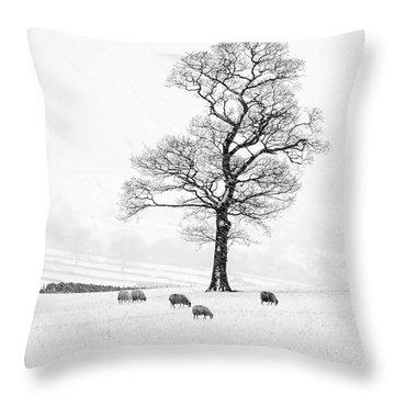 Farndale Winter Throw Pillow by Janet Burdon