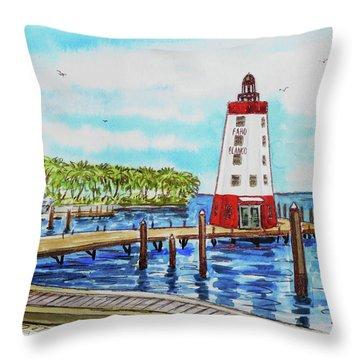 Throw Pillow featuring the painting Faro Blanco Lighthouse Florida Keys by Irina Sztukowski
