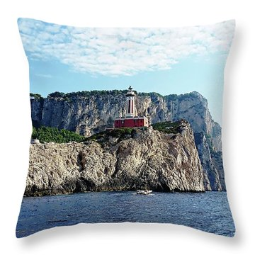 Throw Pillow featuring the digital art Faro Lighthouse - Ise Of Capri by Joseph Hendrix