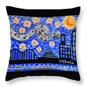 Throw Pillow featuring the painting Memphis Nights by Christopher Farris