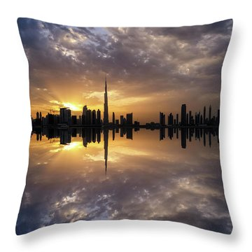Fascinating Reflection In Business Bay District During Dramatic Sunset. Dubai, United Arab Emirates. Throw Pillow