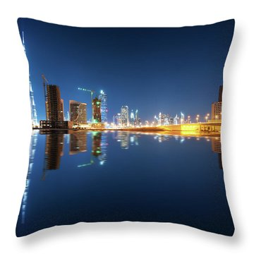 Fascinating Reflection Of Tallest Skyscrapers In Business Bay District During Calm Night. Dubai, United Arab Emirates. Throw Pillow