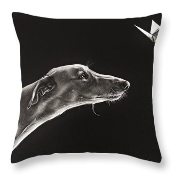 Throw Pillow featuring the drawing Fascination by Elena Kolotusha