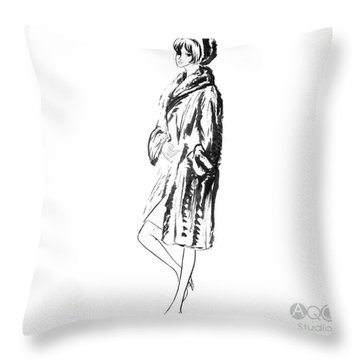 Fashion Girl In Fur Coat Throw Pillow