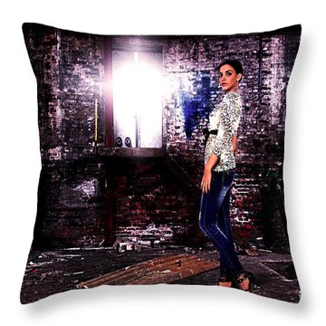 Fashion Model In Jeans  Throw Pillow by Milan Karadzic