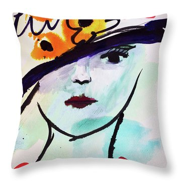 Fashion, Vintage Hat With Flowers Throw Pillow by Amara Dacer