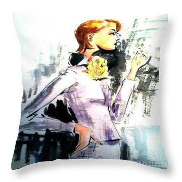 Fashion Woman In Purple Throw Pillow