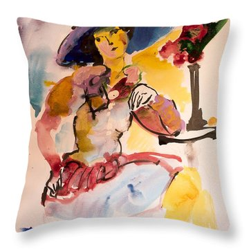 Fashion Woman With Blue Hat Throw Pillow