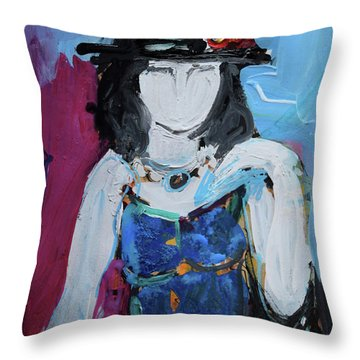Fashion Woman With Vintage Hat And Blue Dress Throw Pillow