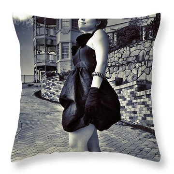 Fashionable Woman And Mansion Throw Pillow