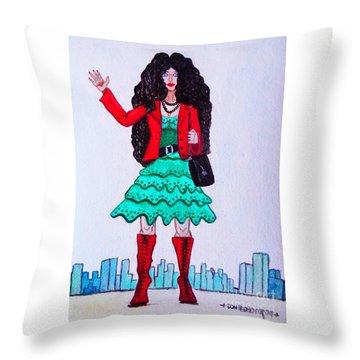 Fashionist Hailing A Taxi Throw Pillow by Don Pedro De Gracia
