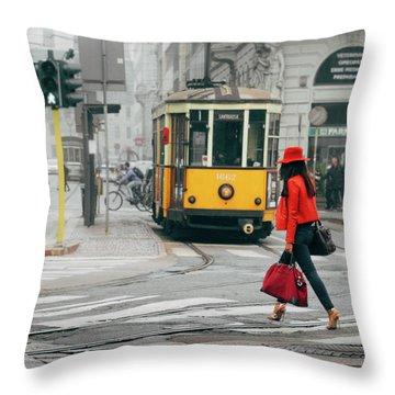Fashionista In Milan, Italy Throw Pillow