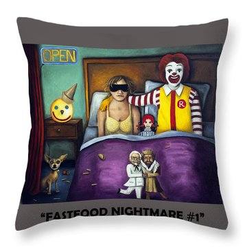 Fast Food Nightmare With Lettering Throw Pillow
