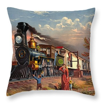 Fast Mail 1875 Throw Pillow