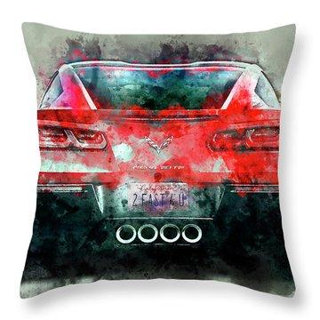 Fast Vette Throw Pillow by Jon Neidert