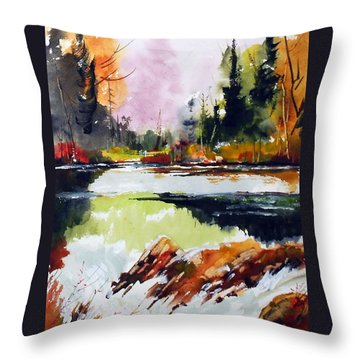Fast Water Throw Pillow by Wilfred McOstrich