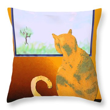 Fat Cat At Her Window Throw Pillow