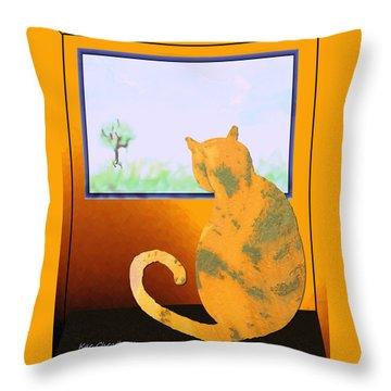 Fat Cat At Her Window Throw Pillow