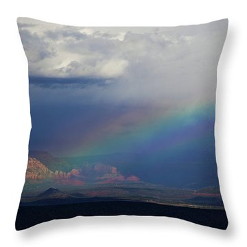 Fat Rainbow, Sedona Az Throw Pillow