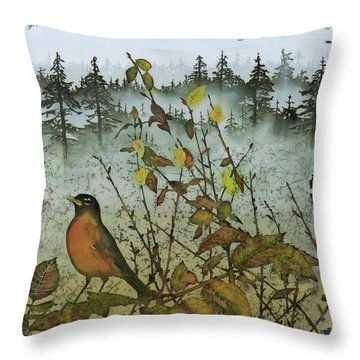 Fat Robins Outside My Windows Throw Pillow by Carolyn Doe