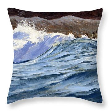 Throw Pillow featuring the painting Fat Wave by Lawrence Dyer