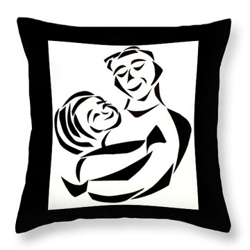 Throw Pillow featuring the mixed media Father And Child by Delin Colon