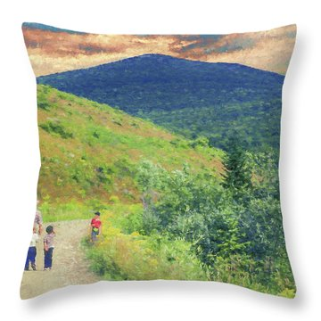 Father And Children Walking Together Throw Pillow