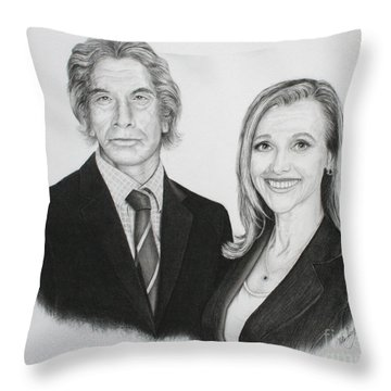 Throw Pillow featuring the drawing Father And Daughter by Mike Ivey