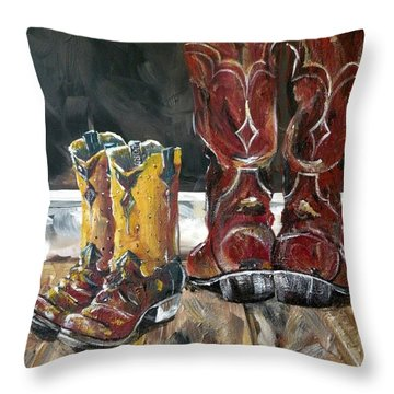 Father And Son Boots Throw Pillow by Holly York
