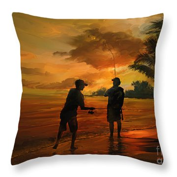 Father And Son Fishing Throw Pillow by Rob Corsetti