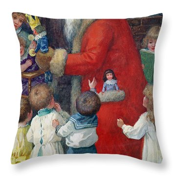 Father Christmas With Children Throw Pillow by Karl Roger