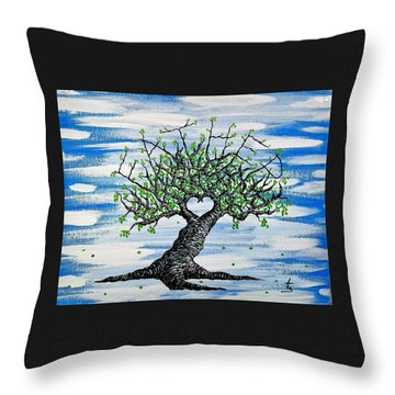 Throw Pillow featuring the drawing Father Love Tree by Aaron Bombalicki
