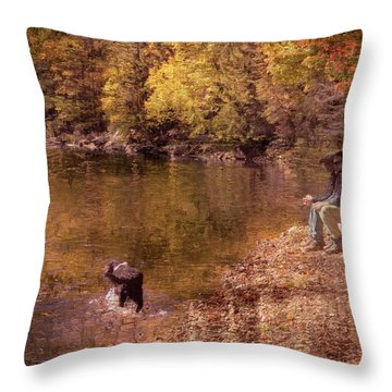 Father,son And Dog Throw Pillow