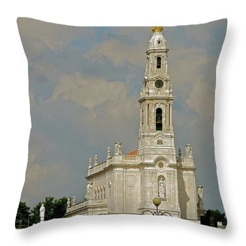 Fatima Cathedral Throw Pillow by Kirsten Giving