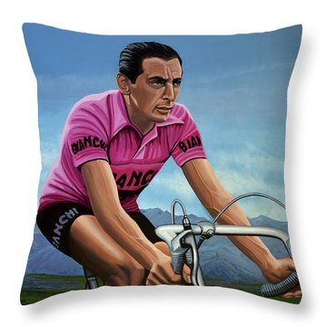 Fausto Coppi Painting Throw Pillow