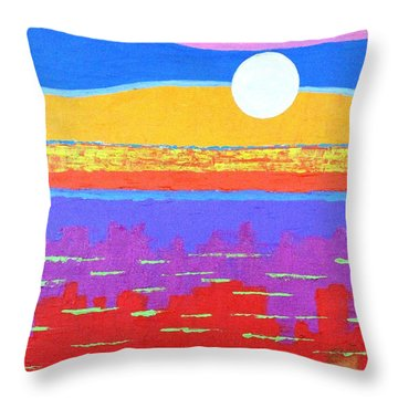 Fauvist Sunset Throw Pillow by Jeremy Aiyadurai
